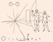 """La """"bouteille à la mer interstellaire"""" emportée par les sondes Pioneer 10 et 11, en 1972 et 1973, à destination d'éventuels êtres extraterrestres."""